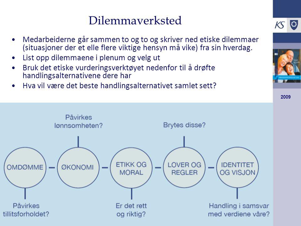 2009 Dilemmaverksted Medarbeiderne går sammen to og to og skriver ned etiske dilemmaer (situasjoner der et elle flere viktige hensyn må vike) fra sin hverdag.