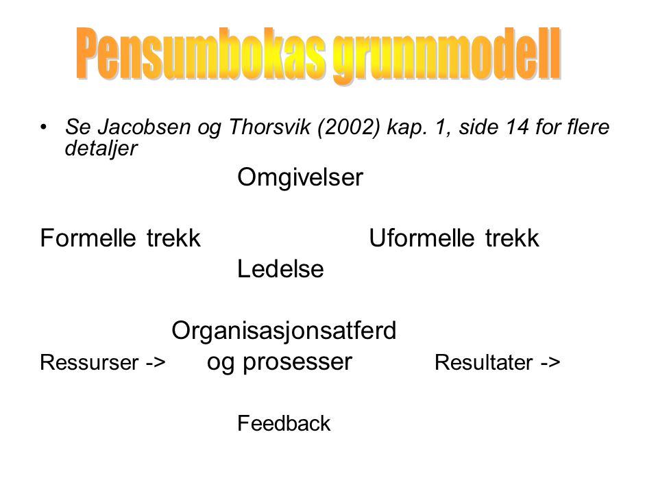 Se Jacobsen og Thorsvik (2002) kap.