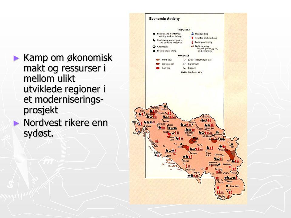 ► Kamp om økonomisk makt og ressurser i mellom ulikt utviklede regioner i et moderniserings- prosjekt ► Nordvest rikere enn sydøst.