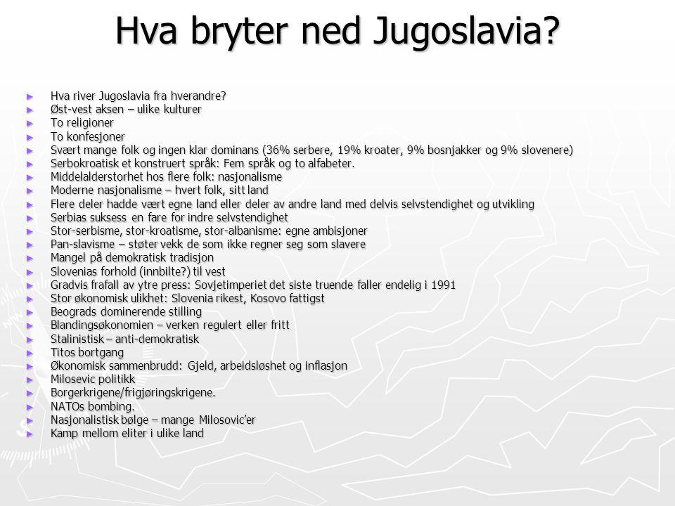 Hva bryter ned Jugoslavia? ► Hva river Jugoslavia fra hverandre? ► Øst-vest aksen – ulike kulturer ► To religioner ► To konfesjoner ► Svært mange folk
