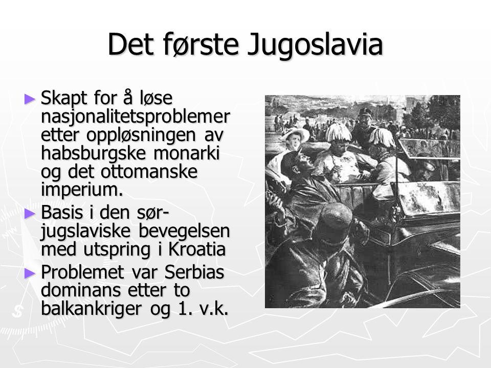 Det første Jugoslavia ► Skapt for å løse nasjonalitetsproblemer etter oppløsningen av habsburgske monarki og det ottomanske imperium. ► Basis i den sø