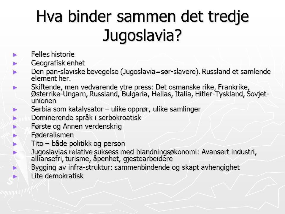 Hva binder sammen det tredje Jugoslavia? ► Felles historie ► Geografisk enhet ► Den pan-slaviske bevegelse (Jugoslavia=sør-slavere). Russland et samle