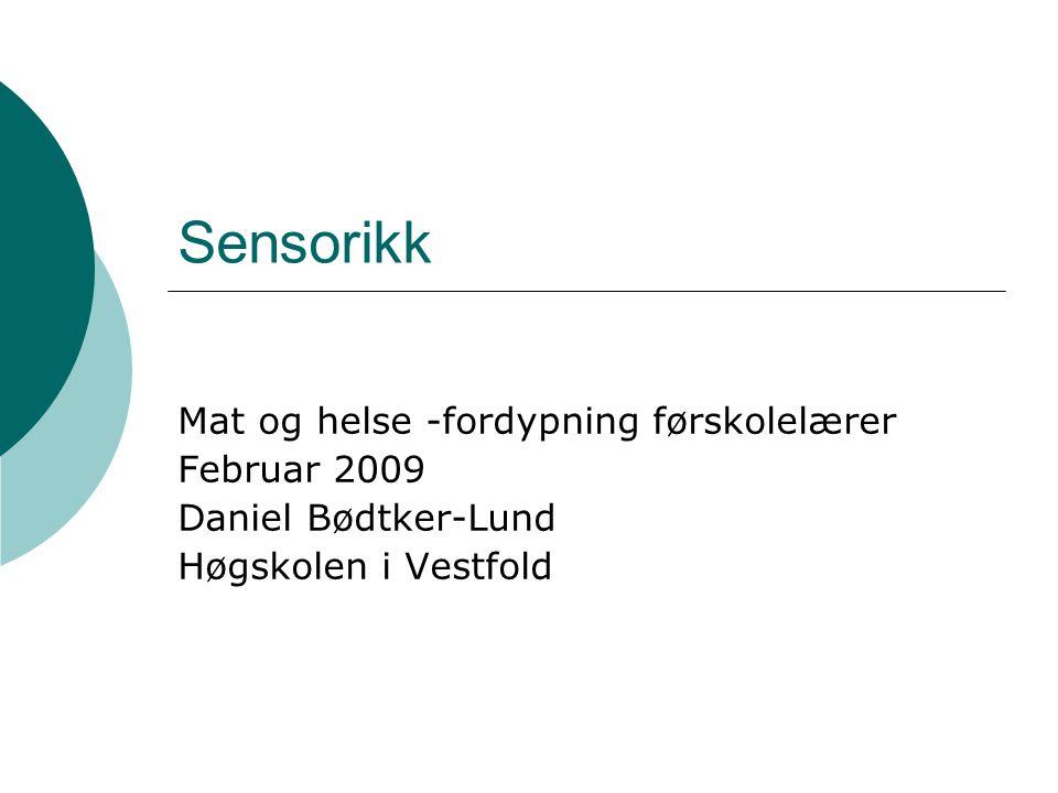 Sensorikk Mat og helse -fordypning førskolelærer Februar 2009 Daniel Bødtker-Lund Høgskolen i Vestfold