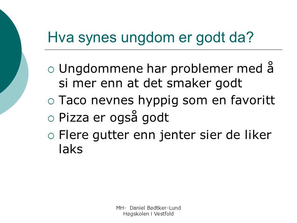 MH- Daniel Bødtker-Lund Høgskolen i Vestfold Hva synes ungdom er godt da?  Ungdommene har problemer med å si mer enn at det smaker godt  Taco nevnes