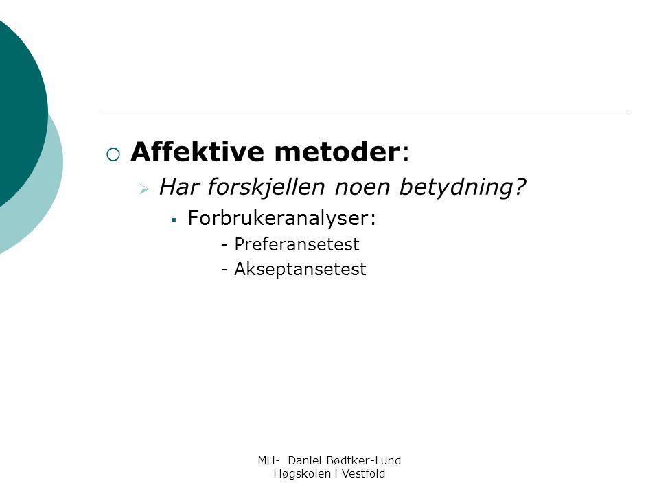 MH- Daniel Bødtker-Lund Høgskolen i Vestfold  Affektive metoder:  Har forskjellen noen betydning?  Forbrukeranalyser: - Preferansetest - Akseptanse