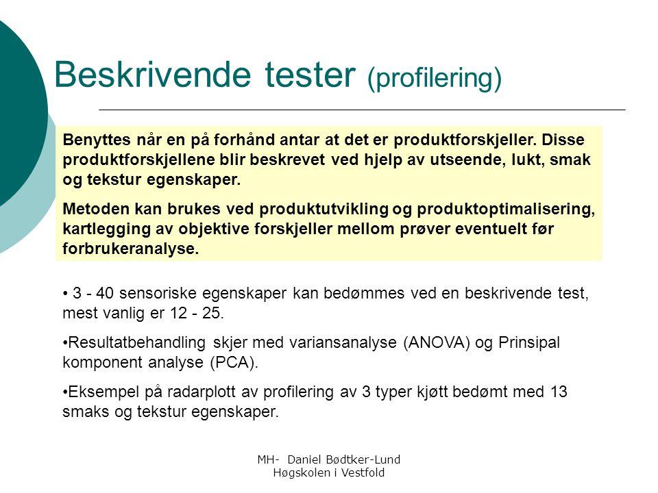 MH- Daniel Bødtker-Lund Høgskolen i Vestfold 3 - 40 sensoriske egenskaper kan bedømmes ved en beskrivende test, mest vanlig er 12 - 25. Resultatbehand
