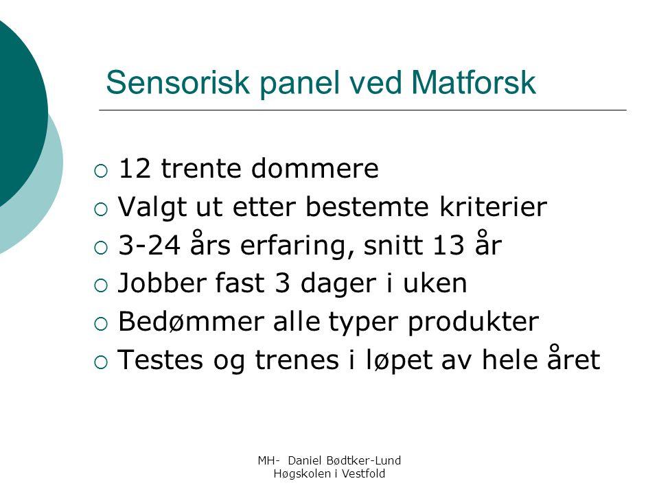 MH- Daniel Bødtker-Lund Høgskolen i Vestfold Sensorisk panel ved Matforsk  12 trente dommere  Valgt ut etter bestemte kriterier  3-24 års erfaring,