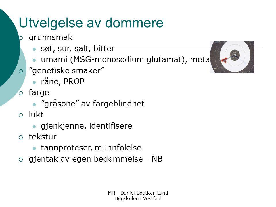 """MH- Daniel Bødtker-Lund Høgskolen i Vestfold Utvelgelse av dommere  grunnsmak søt, sur, salt, bitter umami (MSG-monosodium glutamat), metallisk  """"ge"""