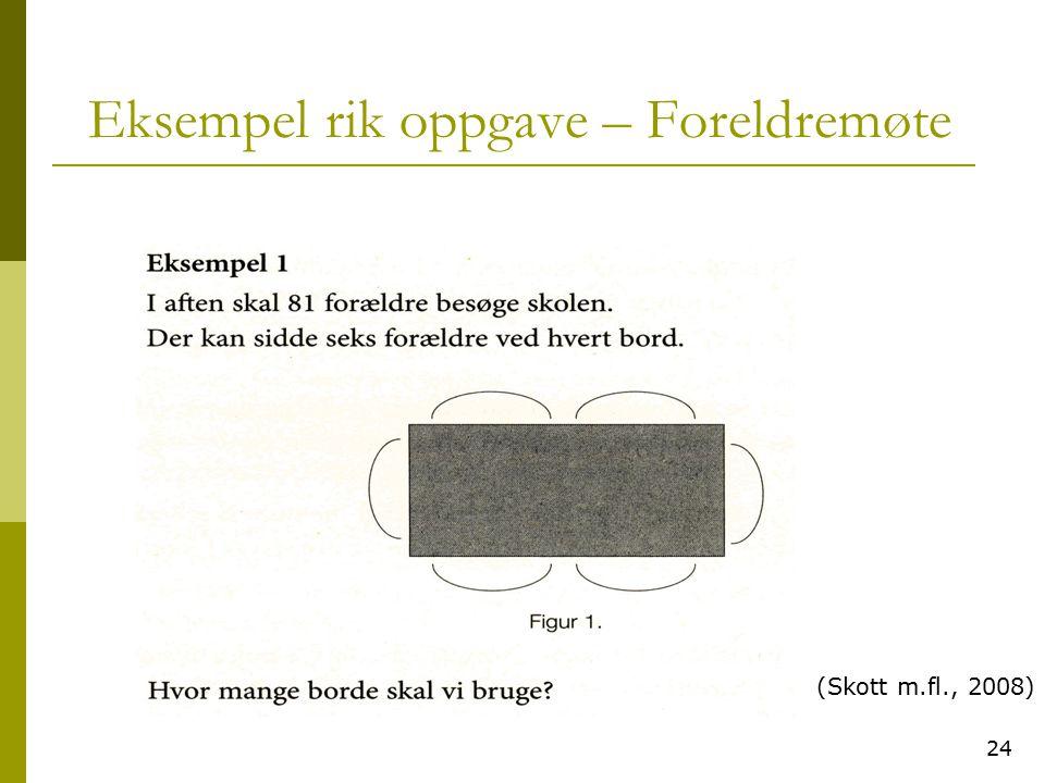 24 Eksempel rik oppgave – Foreldremøte (Skott m.fl., 2008)