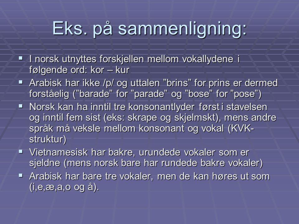 """Eks. på sammenligning:  I norsk utnyttes forskjellen mellom vokallydene i følgende ord: kor – kur  Arabisk har ikke /p/ og uttalen """"brins"""" for prins"""