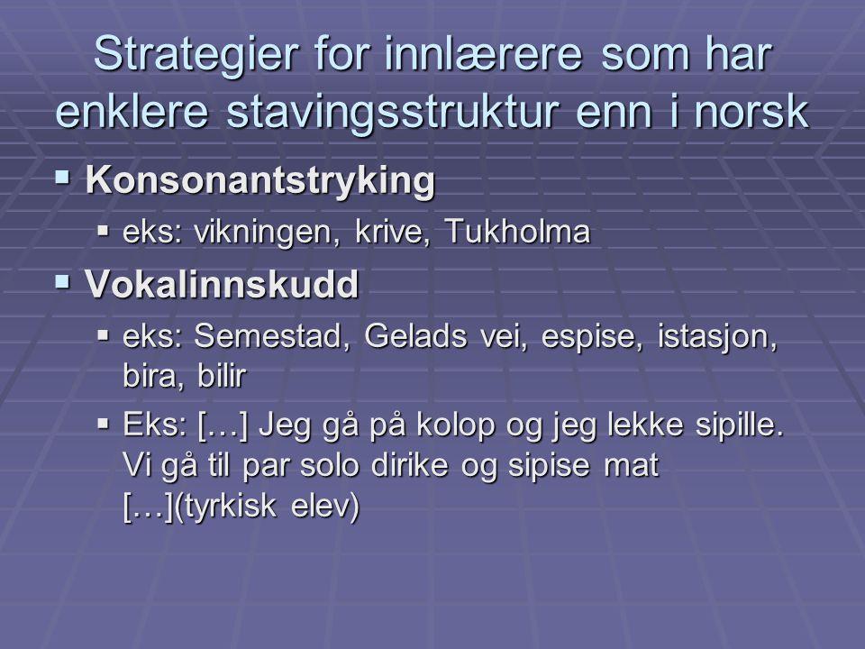 Strategier for innlærere som har enklere stavingsstruktur enn i norsk  Konsonantstryking  eks: vikningen, krive, Tukholma  Vokalinnskudd  eks: Sem