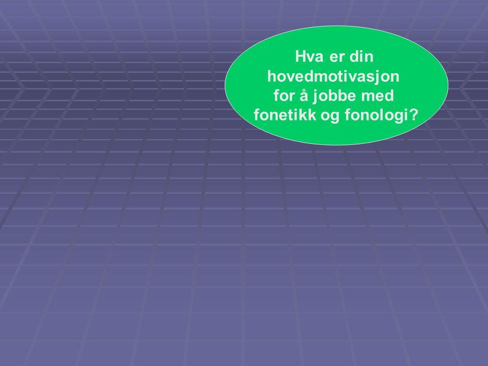 Hva er din hovedmotivasjon for å jobbe med fonetikk og fonologi?