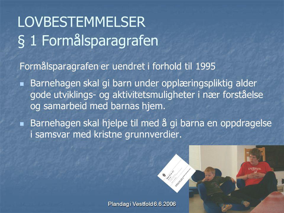 Plandag i Vestfold 6.6.2006 LOVBESTEMMELSER § 1 Formålsparagrafen Formålsparagrafen er uendret i forhold til 1995 Barnehagen skal gi barn under opplær