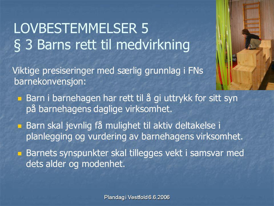 Plandag i Vestfold 6.6.2006 LOVBESTEMMELSER 5 § 3 Barns rett til medvirkning Viktige presiseringer med særlig grunnlag i FNs barnekonvensjon: Barn i b