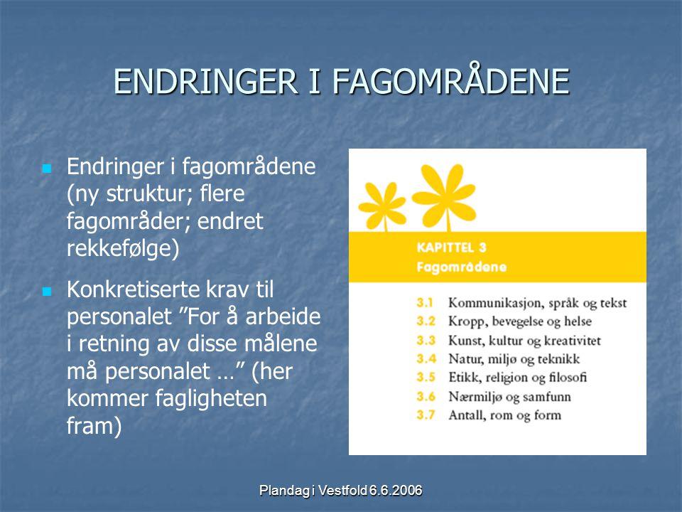 Plandag i Vestfold 6.6.2006 ENDRINGER I FAGOMRÅDENE Endringer i fagområdene (ny struktur; flere fagområder; endret rekkefølge) Konkretiserte krav til