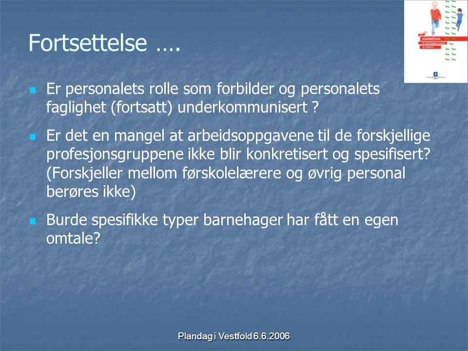 Plandag i Vestfold 6.6.2006 Fortsettelse …. Er personalets rolle som forbilder og personalets faglighet (fortsatt) underkommunisert ? Er det en mangel