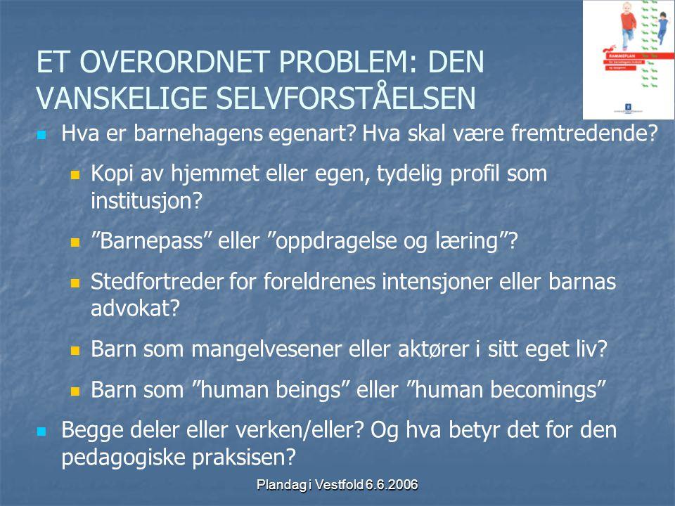 Plandag i Vestfold 6.6.2006 ET OVERORDNET PROBLEM: DEN VANSKELIGE SELVFORSTÅELSEN Hva er barnehagens egenart? Hva skal være fremtredende? Kopi av hjem