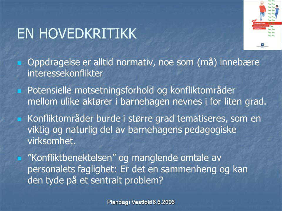 Plandag i Vestfold 6.6.2006 EN HOVEDKRITIKK Oppdragelse er alltid normativ, noe som (må) innebære interessekonflikter Potensielle motsetningsforhold o