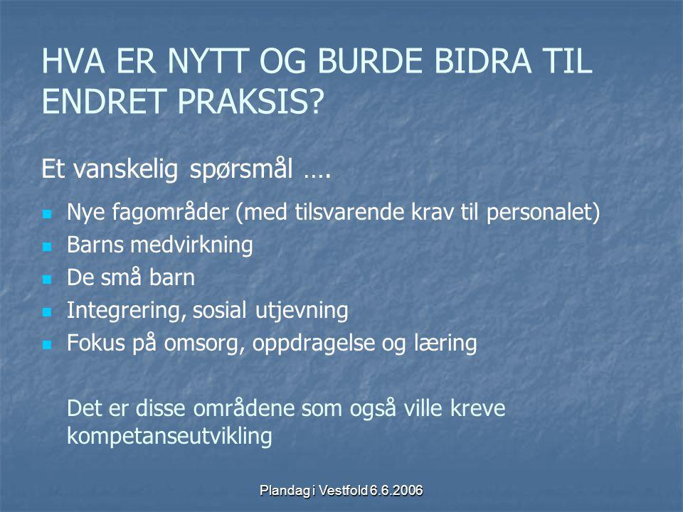 Plandag i Vestfold 6.6.2006 HVA ER NYTT OG BURDE BIDRA TIL ENDRET PRAKSIS? Et vanskelig spørsmål …. Nye fagområder (med tilsvarende krav til personale
