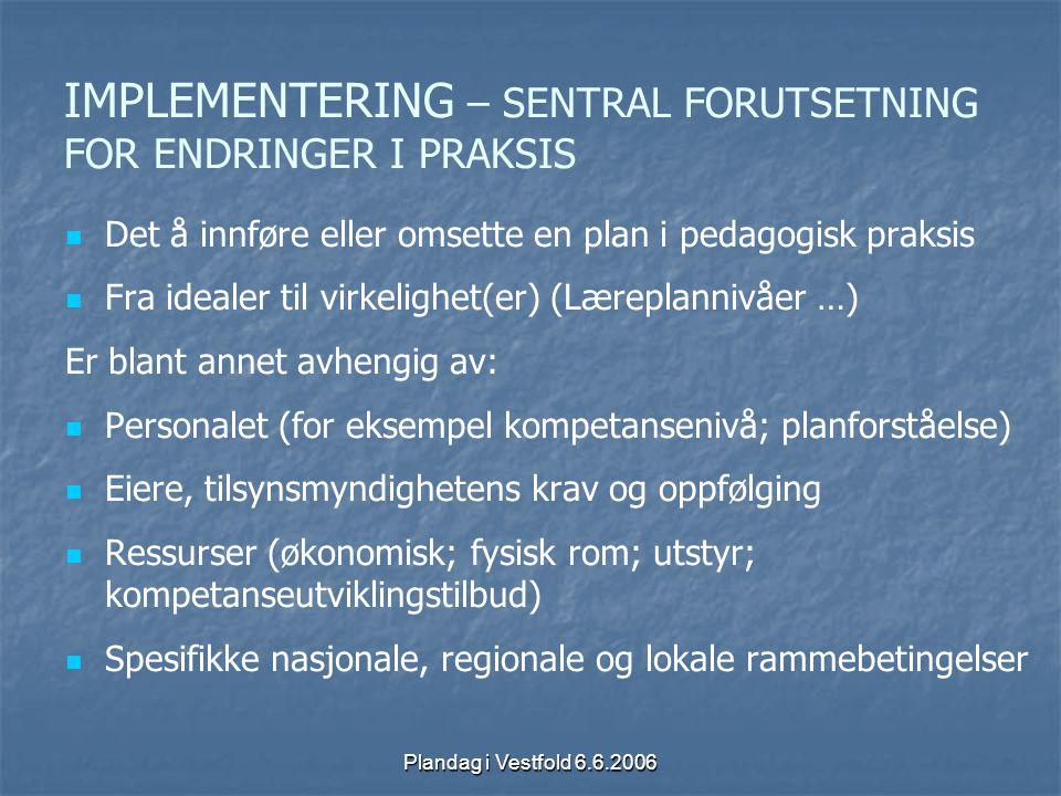 Plandag i Vestfold 6.6.2006 IMPLEMENTERING – SENTRAL FORUTSETNING FOR ENDRINGER I PRAKSIS Det å innføre eller omsette en plan i pedagogisk praksis Fra