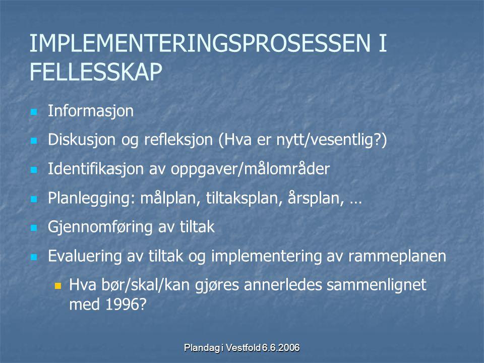 Plandag i Vestfold 6.6.2006 IMPLEMENTERINGSPROSESSEN I FELLESSKAP Informasjon Diskusjon og refleksjon (Hva er nytt/vesentlig?) Identifikasjon av oppga