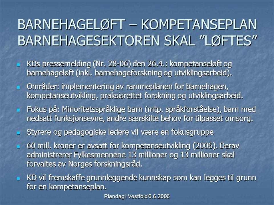"""Plandag i Vestfold 6.6.2006 BARNEHAGELØFT – KOMPETANSEPLAN BARNEHAGESEKTOREN SKAL """"LØFTES"""" KDs pressemelding (Nr. 28-06) den 26.4.: kompetanseløft og"""