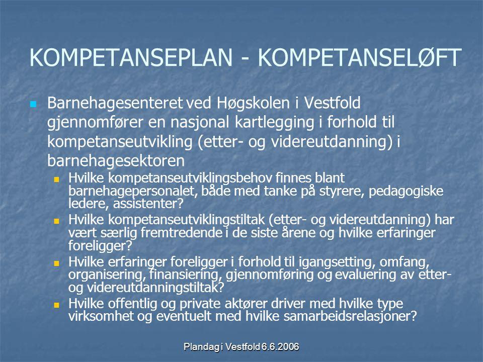 Plandag i Vestfold 6.6.2006 KOMPETANSEPLAN - KOMPETANSELØFT Barnehagesenteret ved Høgskolen i Vestfold gjennomfører en nasjonal kartlegging i forhold