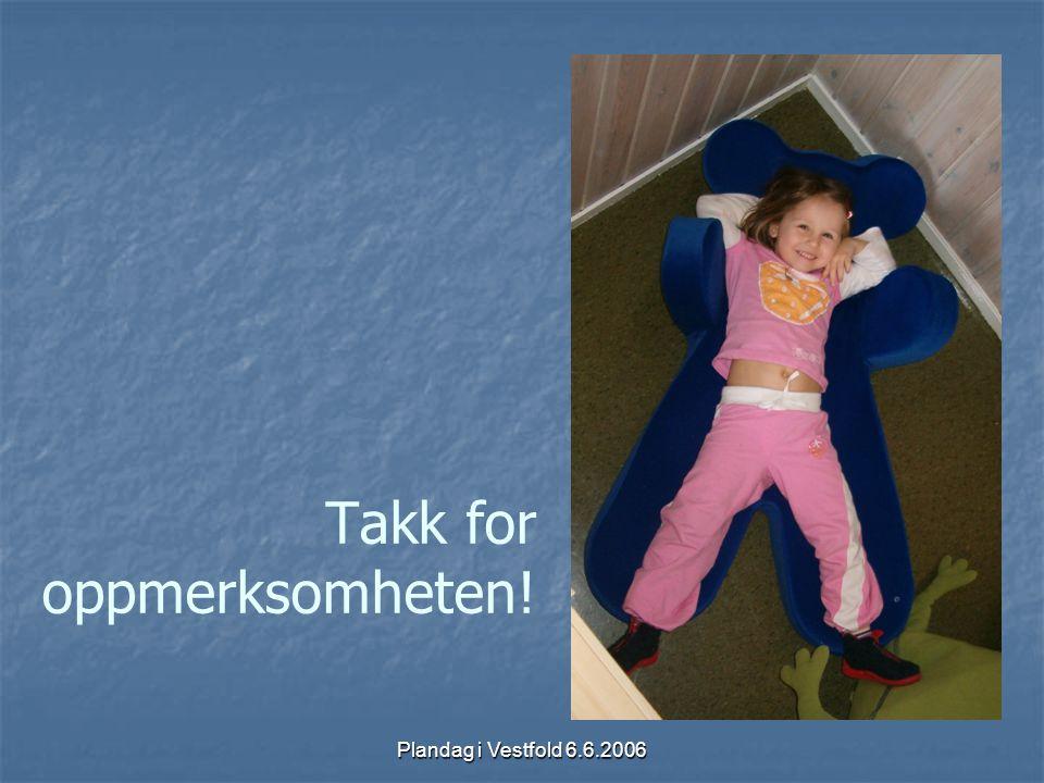 Plandag i Vestfold 6.6.2006 Takk for oppmerksomheten!