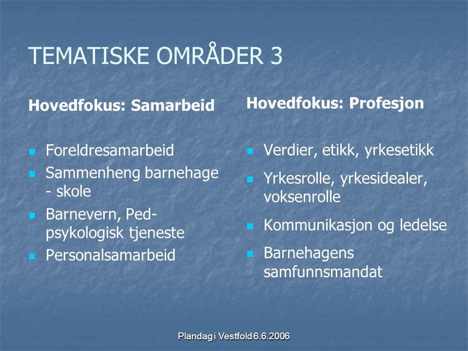 Plandag i Vestfold 6.6.2006 TEMATISKE OMRÅDER 3 Hovedfokus: Samarbeid Foreldresamarbeid Sammenheng barnehage - skole Barnevern, Ped- psykologisk tjene