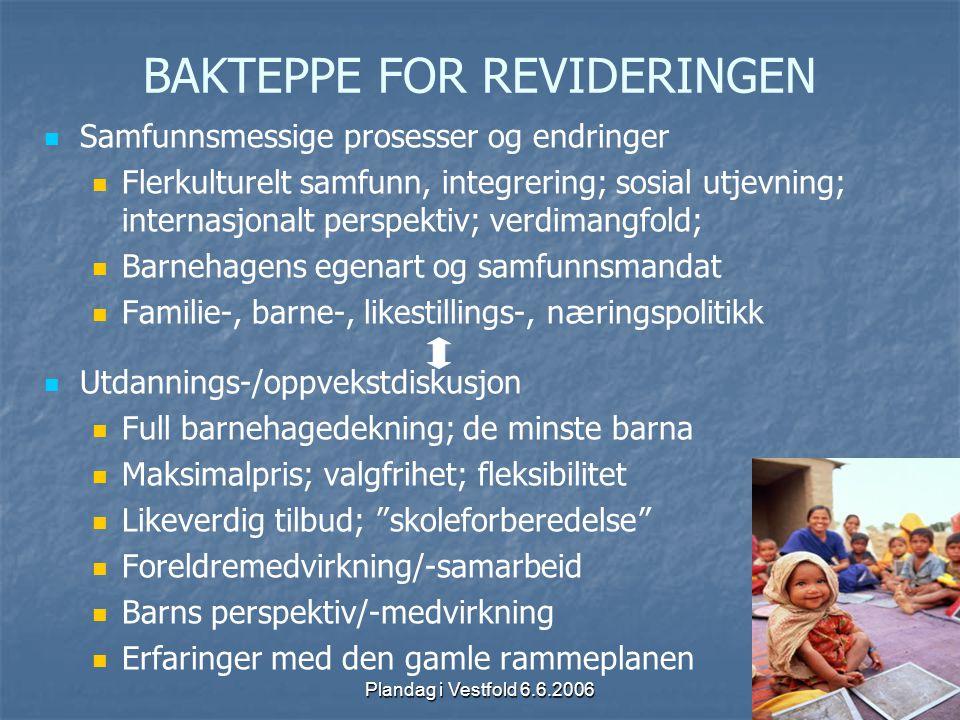 Plandag i Vestfold 6.6.2006 BAKTEPPE FOR REVIDERINGEN Samfunnsmessige prosesser og endringer Flerkulturelt samfunn, integrering; sosial utjevning; int