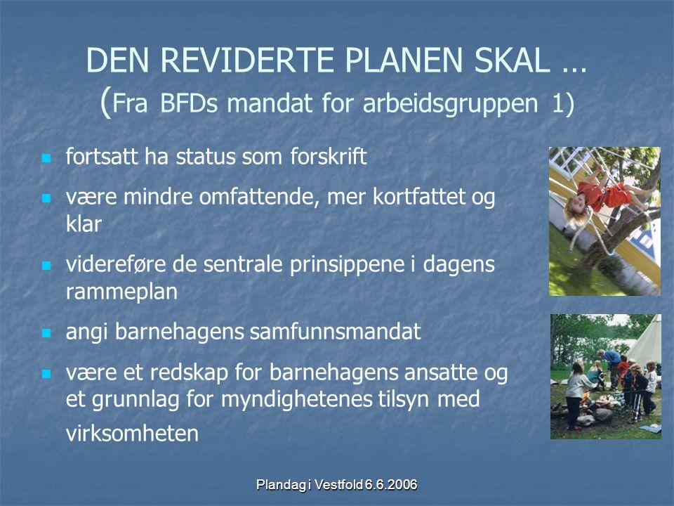 Plandag i Vestfold 6.6.2006 DEN REVIDERTE PLANEN SKAL … ( Fra BFDs mandat for arbeidsgruppen 2) tydeliggjøre barnehagens egenart som arena for lek, omsorg og læring for små barn i grupper ta hensyn til nyere forskning om små barns sosialisering og læring sikre samiske barn et tilpasset barnehagetilbud.