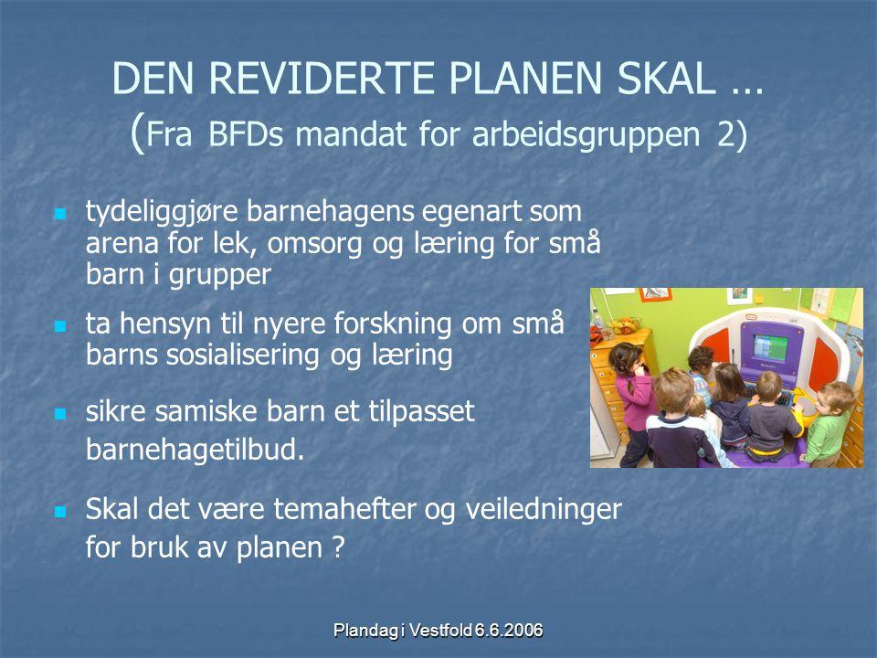 Plandag i Vestfold 6.6.2006 DEN REVIDERTE PLANEN SKAL … ( Fra BFDs mandat for arbeidsgruppen 2) tydeliggjøre barnehagens egenart som arena for lek, om
