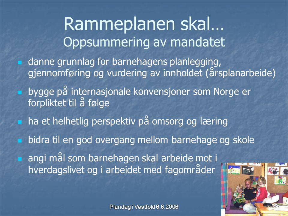 Plandag i Vestfold 6.6.2006 Rammeplanen skal … Oppsummering av mandatet danne grunnlag for barnehagens planlegging, gjennomf ø ring og vurdering av in