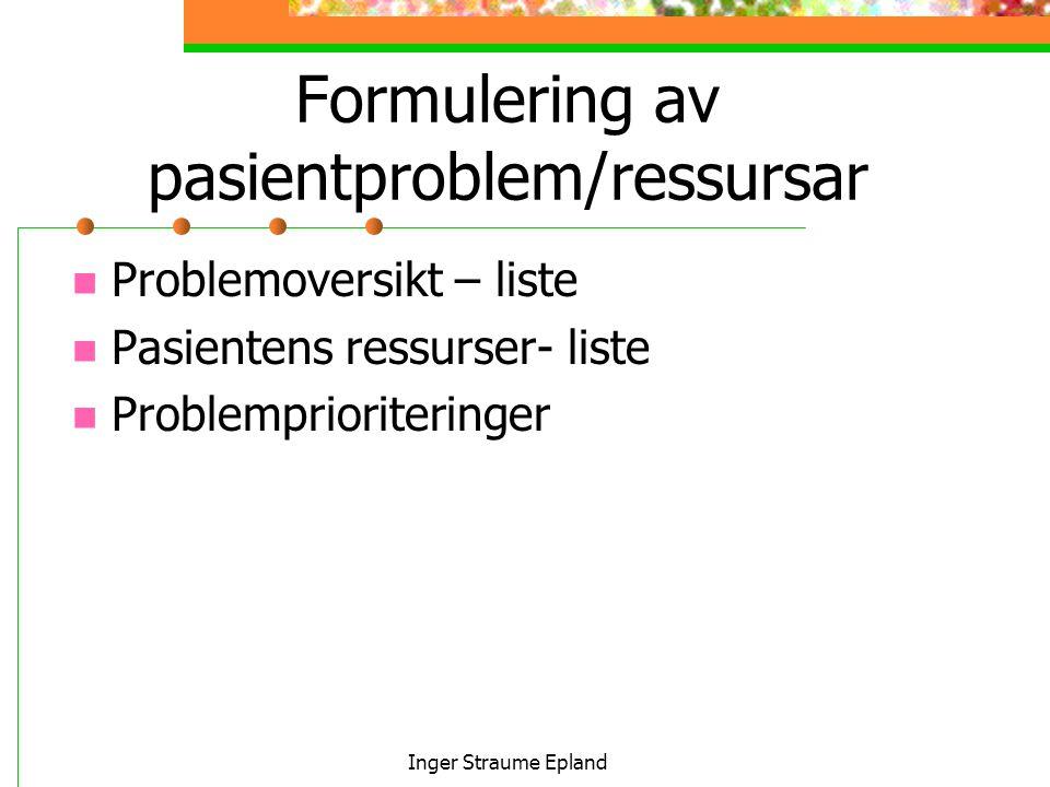 Inger Straume Epland Formulering av pasientproblem/ressursar Problemoversikt – liste Pasientens ressurser- liste Problemprioriteringer