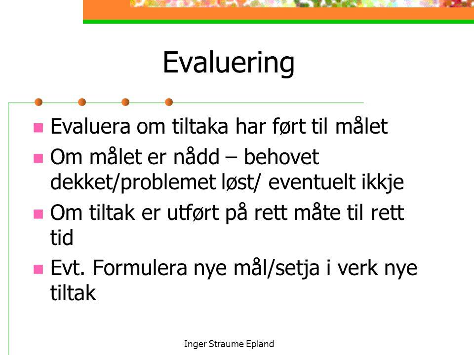Inger Straume Epland Evaluering Evaluera om tiltaka har ført til målet Om målet er nådd – behovet dekket/problemet løst/ eventuelt ikkje Om tiltak er utført på rett måte til rett tid Evt.