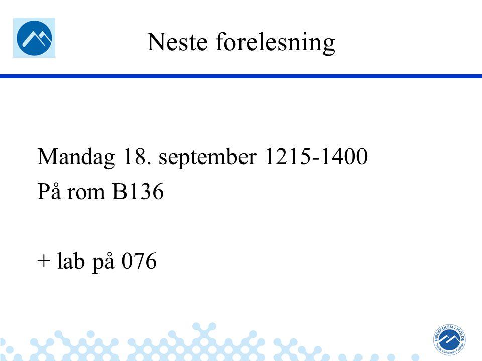Jæger: Robuste og sikre systemer Neste forelesning Mandag 18.