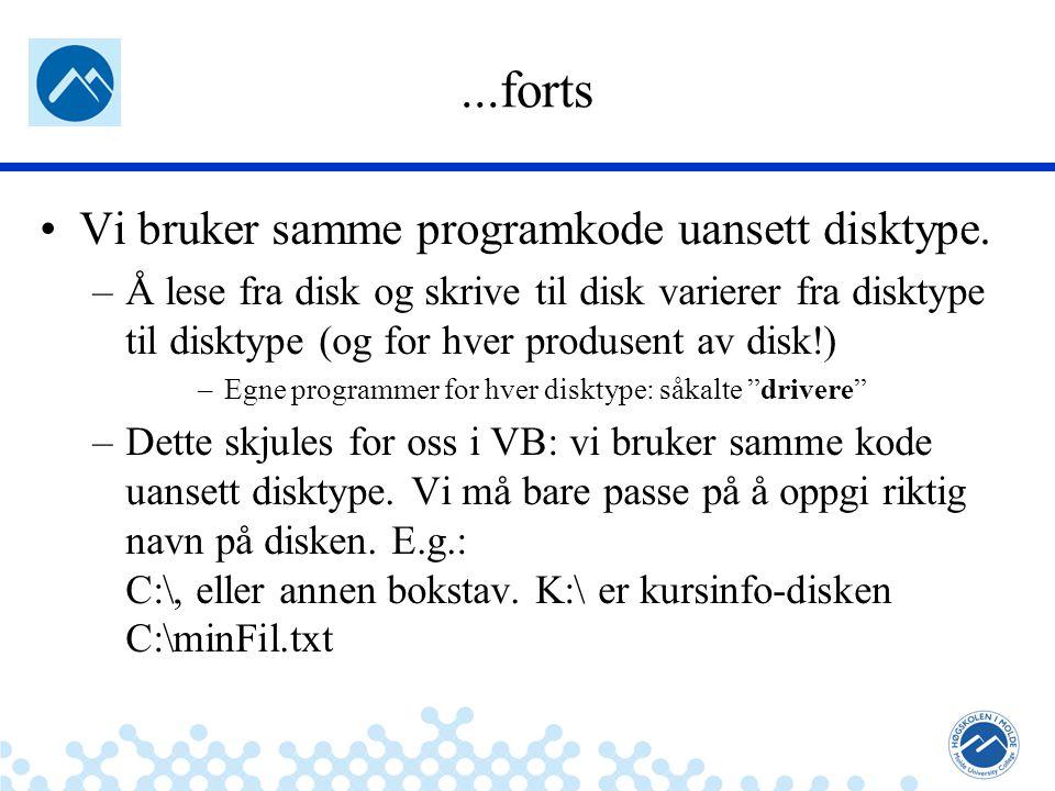 Jæger: Robuste og sikre systemer Fil – kodeeksempel LESER FRA FIL: Dim sr As IO.StreamReader Dim forsteLinje As String sr = IO.File.OpenText( minFil.txt ) forsteLinje = sr.ReadLine sr.Close() lstBox.Items.Add(forsteLinje) Vi ser nå på detaljer i eksemplet