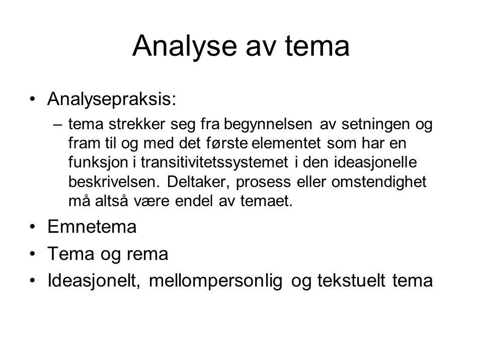 Analyse av tema Analysepraksis: –tema strekker seg fra begynnelsen av setningen og fram til og med det første elementet som har en funksjon i transiti