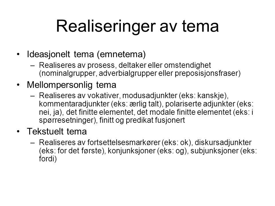 Realiseringer av tema Ideasjonelt tema (emnetema) –Realiseres av prosess, deltaker eller omstendighet (nominalgrupper, adverbialgrupper eller preposis