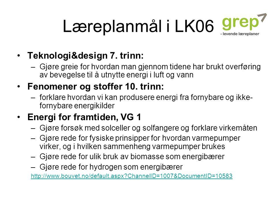 Læreplanmål i LK06 Teknologi&design 7. trinn: –Gjøre greie for hvordan man gjennom tidene har brukt overføring av bevegelse til å utnytte energi i luf