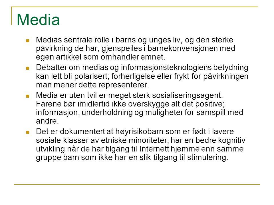 Media Medias sentrale rolle i barns og unges liv, og den sterke påvirkning de har, gjenspeiles i barnekonvensjonen med egen artikkel som omhandler emn