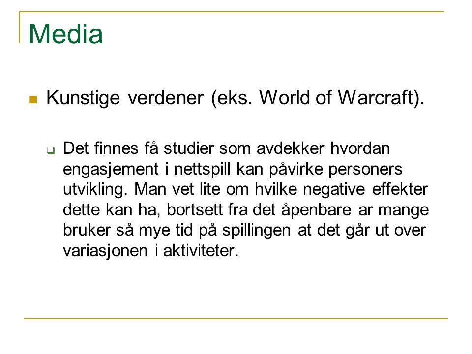 Media Kunstige verdener (eks. World of Warcraft).  Det finnes få studier som avdekker hvordan engasjement i nettspill kan påvirke personers utvikling