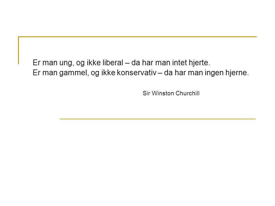 Er man ung, og ikke liberal – da har man intet hjerte. Er man gammel, og ikke konservativ – da har man ingen hjerne. Sir Winston Churchill