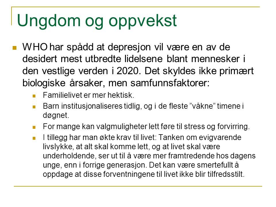 Ungdom og oppvekst WHO har spådd at depresjon vil være en av de desidert mest utbredte lidelsene blant mennesker i den vestlige verden i 2020. Det sky