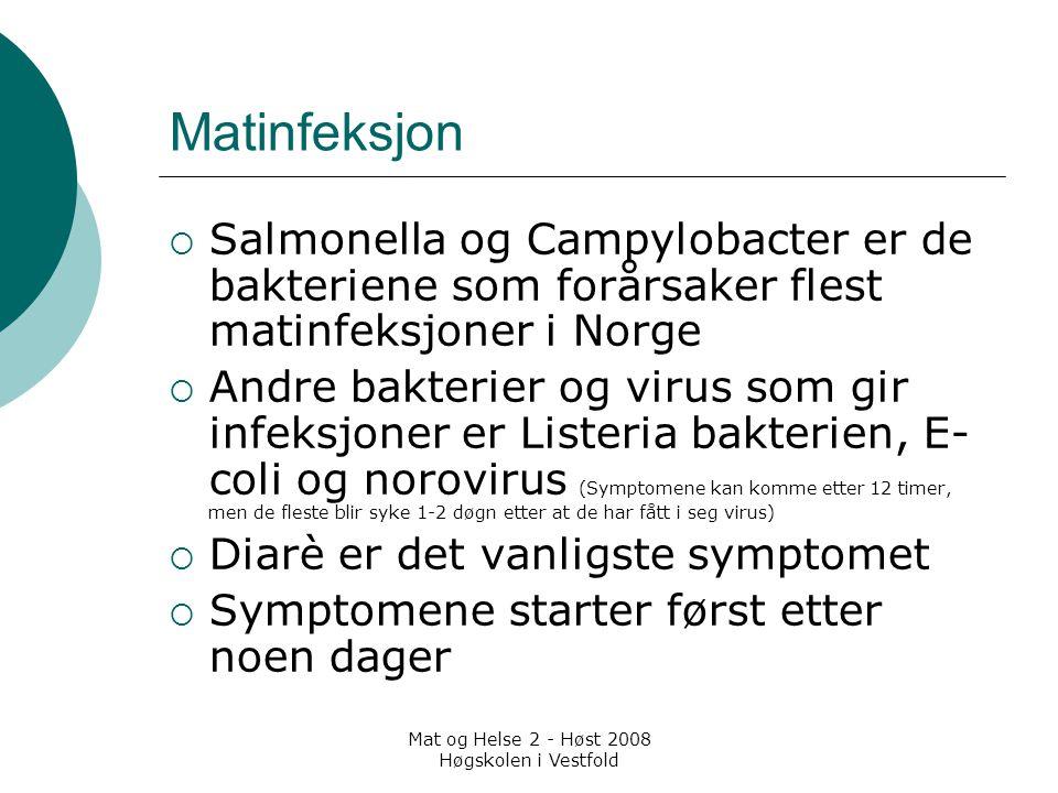 Mat og Helse 2 - Høst 2008 Høgskolen i Vestfold Matinfeksjon  Salmonella og Campylobacter er de bakteriene som forårsaker flest matinfeksjoner i Norg
