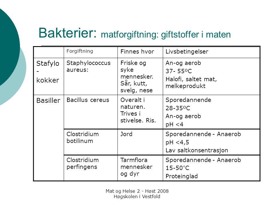 Mat og Helse 2 - Høst 2008 Høgskolen i Vestfold Bakterier: matforgiftning: giftstoffer i maten Forgiftning Finnes hvorLivsbetingelser Stafylo - kokker