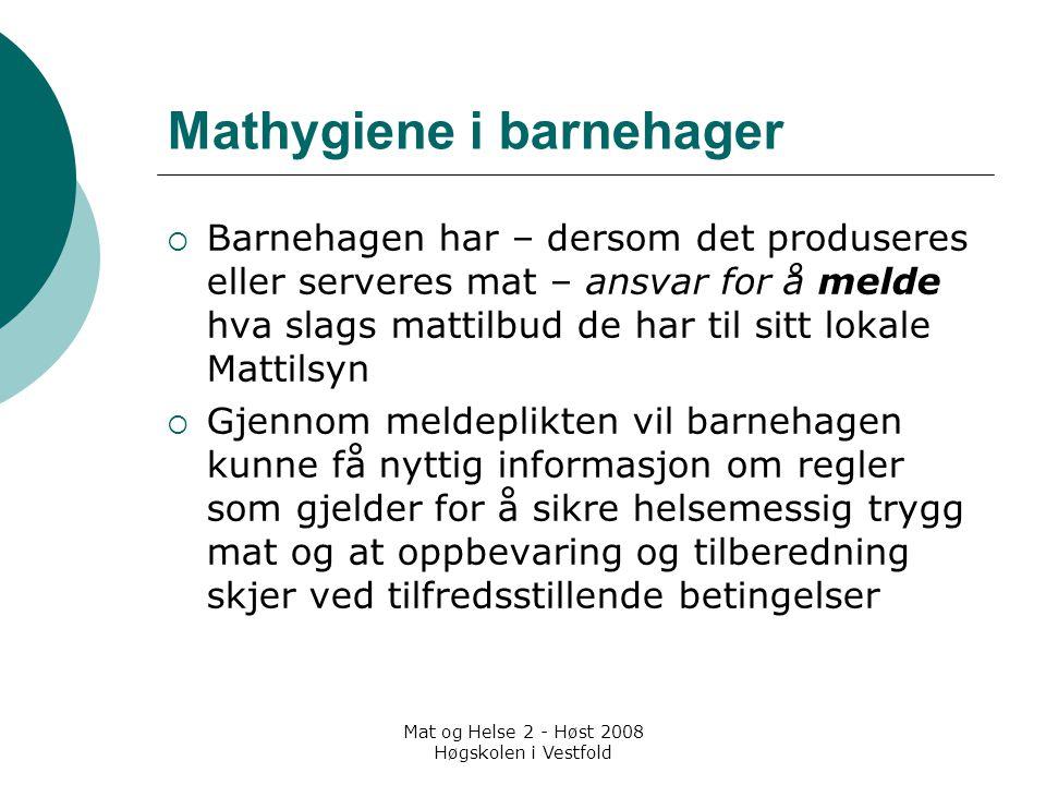 Mat og Helse 2 - Høst 2008 Høgskolen i Vestfold Mathygiene i barnehager  Barnehagen har – dersom det produseres eller serveres mat – ansvar for å mel