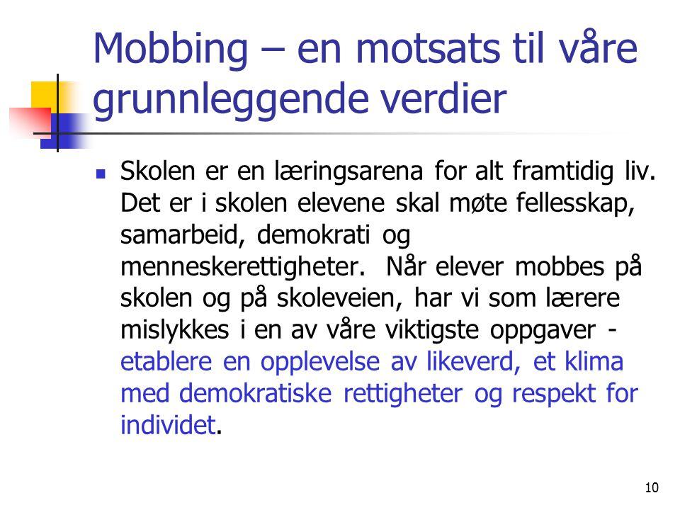 10 Mobbing – en motsats til våre grunnleggende verdier Skolen er en læringsarena for alt framtidig liv. Det er i skolen elevene skal møte fellesskap,
