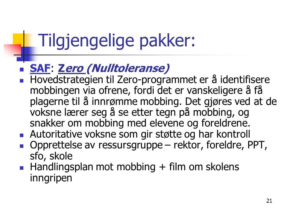 21 Tilgjengelige pakker: SAF: Zero (Nulltoleranse) Hovedstrategien til Zero-programmet er å identifisere mobbingen via ofrene, fordi det er vanskelige