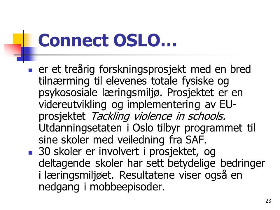 23 Connect OSLO… er et treårig forskningsprosjekt med en bred tilnærming til elevenes totale fysiske og psykososiale læringsmiljø. Prosjektet er en vi